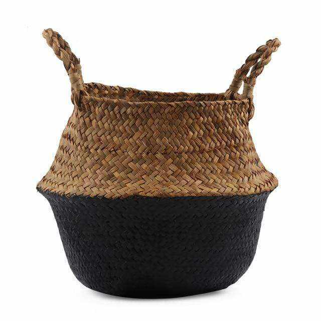 La Maison du Bambou Black / 22cmX20cm Seagrass Belly Storage Basket Straw Basket Write Wicker Basket Storage Bag White Garden Flower Pot Planter Handmade