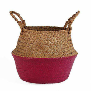La Maison du Bambou Rose Red / 22cmX20cm Seagrass Belly Storage Basket Straw Basket Write Wicker Basket Storage Bag White Garden Flower Pot Planter Handmade