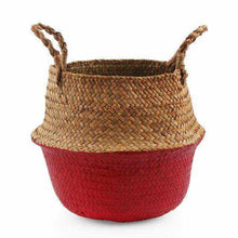 Charger l'image dans la galerie, La Maison du Bambou Red / 22cmX20cm Seagrass Belly Storage Basket Straw Basket Write Wicker Basket Storage Bag White Garden Flower Pot Planter Handmade