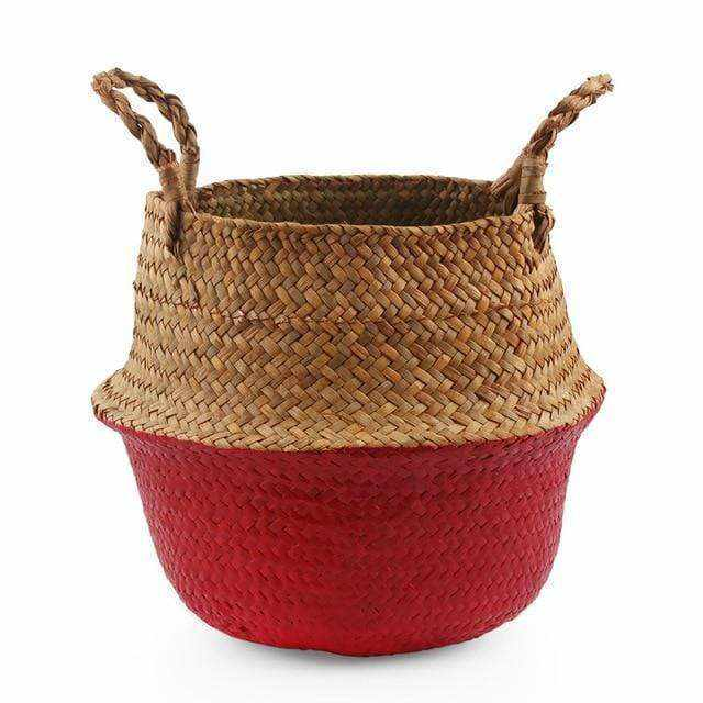 La Maison du Bambou Red / 22cmX20cm Seagrass Belly Storage Basket Straw Basket Write Wicker Basket Storage Bag White Garden Flower Pot Planter Handmade