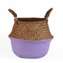 Charger l'image dans la galerie, La Maison du Bambou Pale Violet / 22cmX20cm Seagrass Belly Storage Basket Straw Basket Write Wicker Basket Storage Bag White Garden Flower Pot Planter Handmade