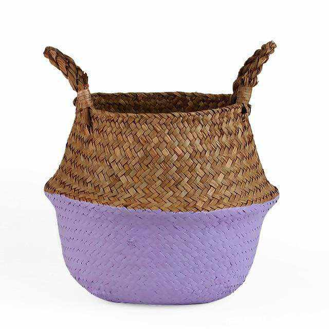 La Maison du Bambou Pale Violet / 22cmX20cm Seagrass Belly Storage Basket Straw Basket Write Wicker Basket Storage Bag White Garden Flower Pot Planter Handmade