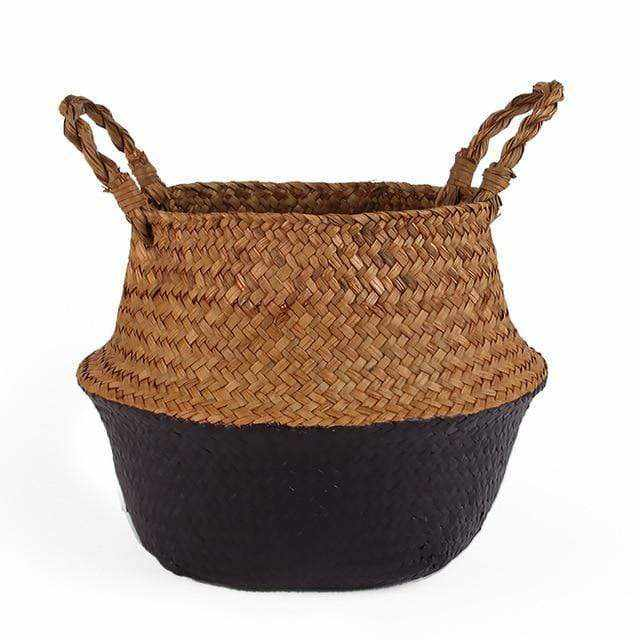 La Maison du Bambou Purple / 22cmX20cm Seagrass Belly Storage Basket Straw Basket Write Wicker Basket Storage Bag White Garden Flower Pot Planter Handmade