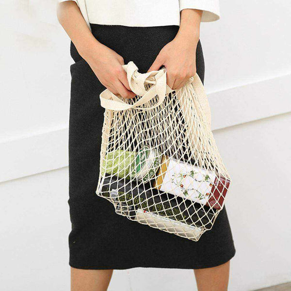La Maison du Bambou Noir / United States Reusable Fruit Shopping String Grocery Shopper Cotton Tote Mesh Woven Net Shoulder Bag Mesh Net Shopping Bag High Quality