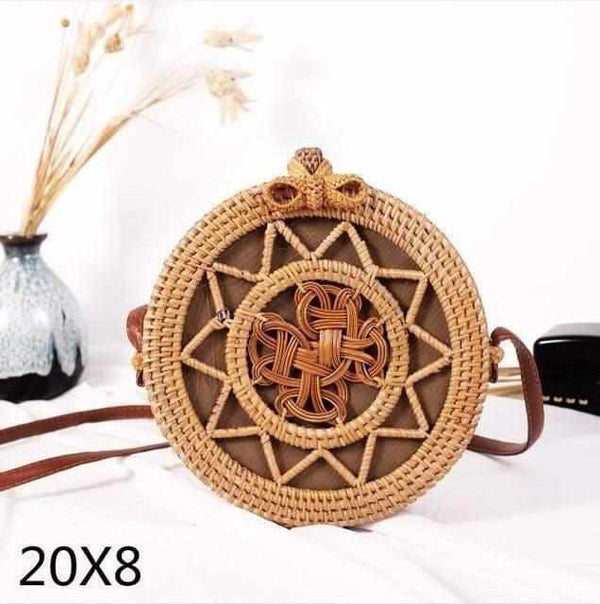 La Maison du Bambou wujiaoxingbianhua Woven Rattan Bag Round Straw Shoulder Bag Small Beach HandBags Women Summer Hollow Handmade Messenger Crossbody Bags