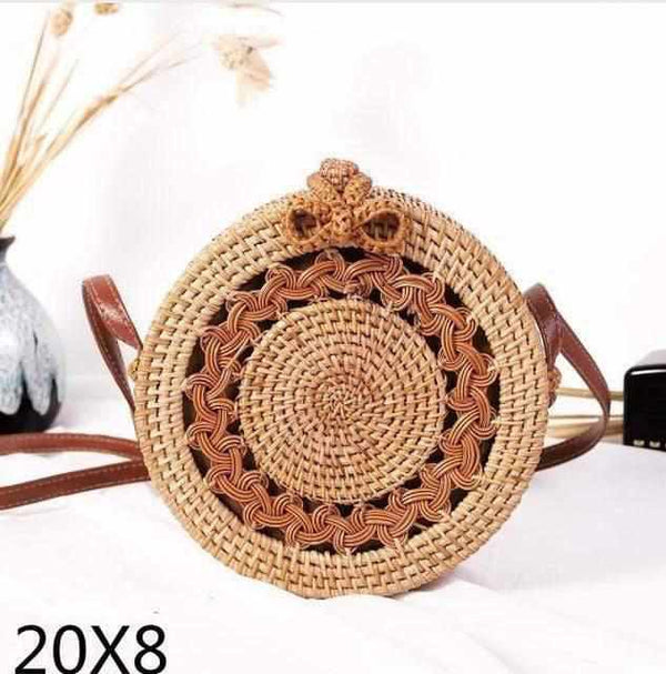 La Maison du Bambou loukong20x8 Woven Rattan Bag Round Straw Shoulder Bag Small Beach HandBags Women Summer Hollow Handmade Messenger Crossbody Bags