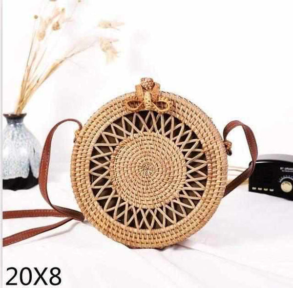 La Maison du Bambou zakuan20x8cm Woven Rattan Bag Round Straw Shoulder Bag Small Beach HandBags Women Summer Hollow Handmade Messenger Crossbody Bags