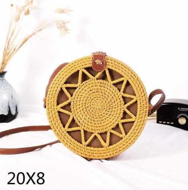 La Maison du Bambou yellowwujiaoxing20x8 Woven Rattan Bag Round Straw Shoulder Bag Small Beach HandBags Women Summer Hollow Handmade Messenger Crossbody Bags