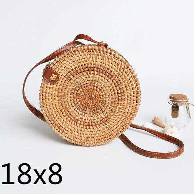 La Maison du Bambou pikou18x8cm Woven Rattan Bag Round Straw Shoulder Bag Small Beach HandBags Women Summer Hollow Handmade Messenger Crossbody Bags