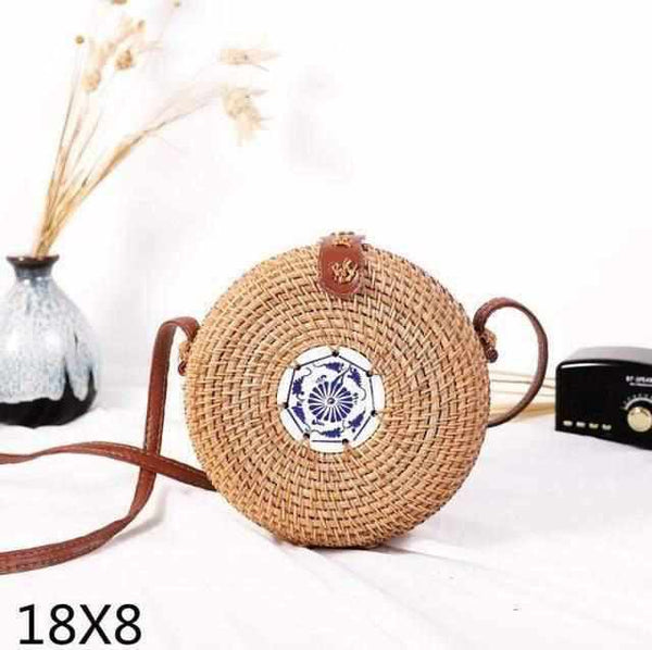 La Maison du Bambou cipian18x8 Woven Rattan Bag Round Straw Shoulder Bag Small Beach HandBags Women Summer Hollow Handmade Messenger Crossbody Bags