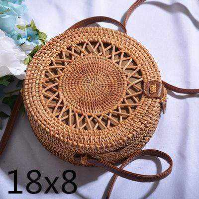 La Maison du Bambou PIKOUZAKUAN18X8 Woven Rattan Bag Round Straw Shoulder Bag Small Beach HandBags Women Summer Hollow Handmade Messenger Crossbody Bags