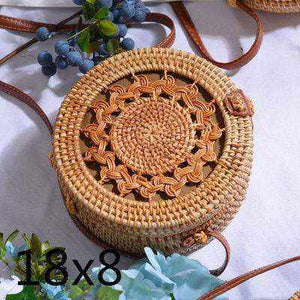La Maison du Bambou LOUKONG18X8cm Woven Rattan Bag Round Straw Shoulder Bag Small Beach HandBags Women Summer Hollow Handmade Messenger Crossbody Bags