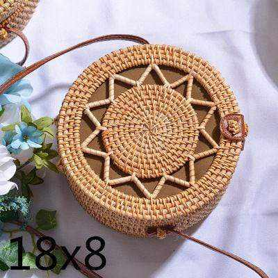 La Maison du Bambou wujiaoxing18x8cm Woven Rattan Bag Round Straw Shoulder Bag Small Beach HandBags Women Summer Hollow Handmade Messenger Crossbody Bags