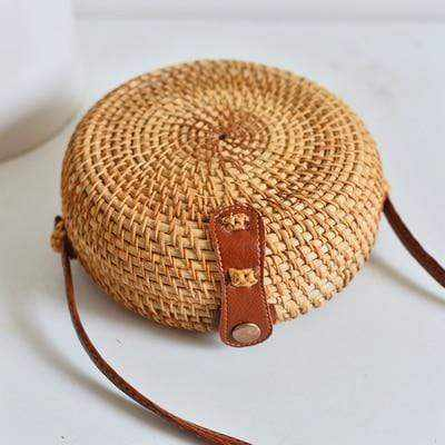 La Maison du Bambou huxingbao18x8 Woven Rattan Bag Round Straw Shoulder Bag Small Beach HandBags Women Summer Hollow Handmade Messenger Crossbody Bags
