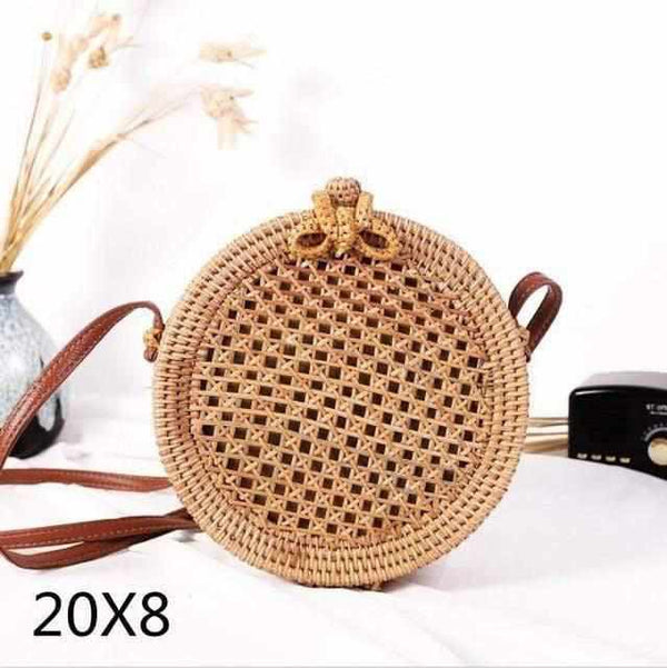 La Maison du Bambou diandian20x8cm Woven Rattan Bag Round Straw Shoulder Bag Small Beach HandBags Women Summer Hollow Handmade Messenger Crossbody Bags