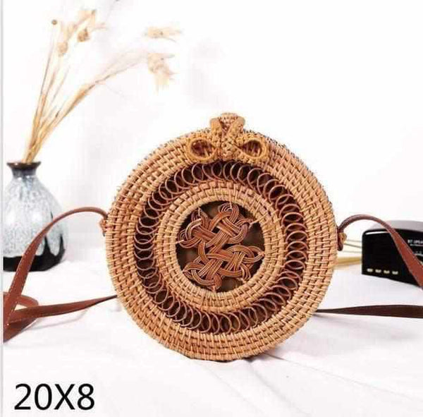 La Maison du Bambou zhongguojie20x8cm Woven Rattan Bag Round Straw Shoulder Bag Small Beach HandBags Women Summer Hollow Handmade Messenger Crossbody Bags