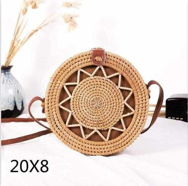 La Maison du Bambou pikouwujiaoxing Woven Rattan Bag Round Straw Shoulder Bag Small Beach HandBags Women Summer Hollow Handmade Messenger Crossbody Bags