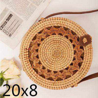 La Maison du Bambou loukongpikou20x8cm 1 Woven Rattan Bag Round Straw Shoulder Bag Small Beach HandBags Women Summer Hollow Handmade Messenger Crossbody Bags