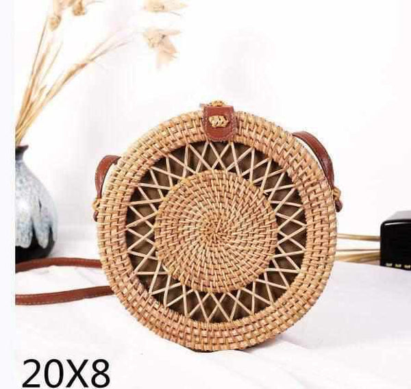 La Maison du Bambou PIKOUZAKUAN20x8 Woven Rattan Bag Round Straw Shoulder Bag Small Beach HandBags Women Summer Hollow Handmade Messenger Crossbody Bags