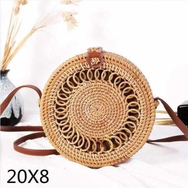La Maison du Bambou quanquandian20x8cm Woven Rattan Bag Round Straw Shoulder Bag Small Beach HandBags Women Summer Hollow Handmade Messenger Crossbody Bags