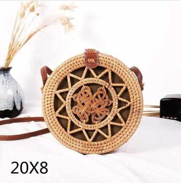 La Maison du Bambou BiAnhua20x8cm Woven Rattan Bag Round Straw Shoulder Bag Small Beach HandBags Women Summer Hollow Handmade Messenger Crossbody Bags