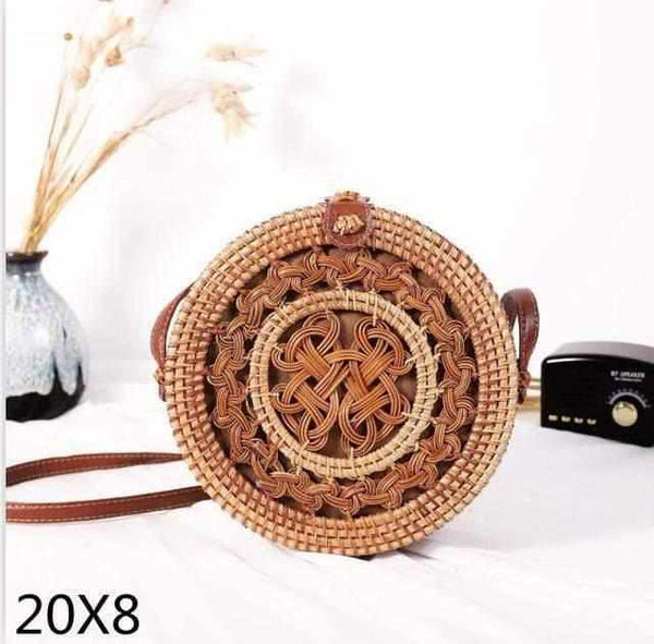 La Maison du Bambou bianhuajie20x8cm Woven Rattan Bag Round Straw Shoulder Bag Small Beach HandBags Women Summer Hollow Handmade Messenger Crossbody Bags