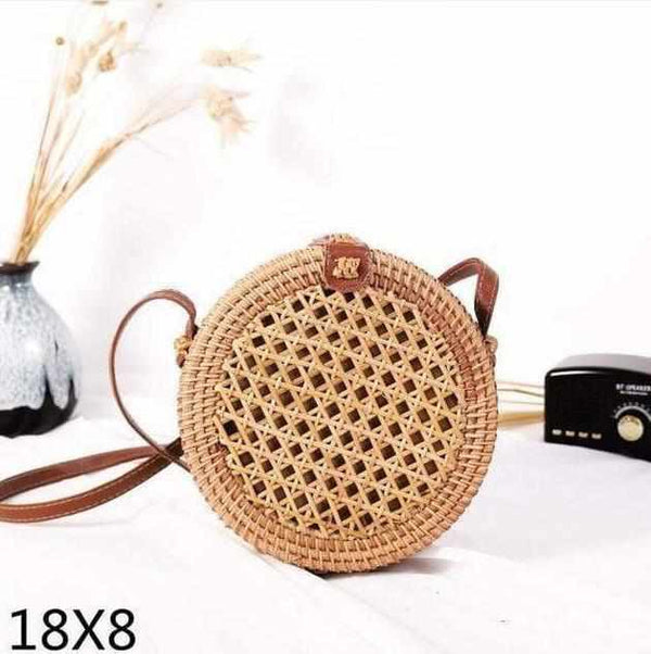 La Maison du Bambou diandian18x8 Woven Rattan Bag Round Straw Shoulder Bag Small Beach HandBags Women Summer Hollow Handmade Messenger Crossbody Bags
