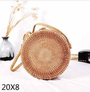 La Maison du Bambou tengtiao20x8 Woven Rattan Bag Round Straw Shoulder Bag Small Beach HandBags Women Summer Hollow Handmade Messenger Crossbody Bags
