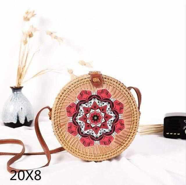 La Maison du Bambou redhua Woven Rattan Bag Round Straw Shoulder Bag Small Beach HandBags Women Summer Hollow Handmade Messenger Crossbody Bags