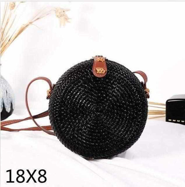 La Maison du Bambou Woven Rattan Bag Round Straw Shoulder Bag Small Beach HandBags Women Summer Hollow Handmade Messenger Crossbody Bags