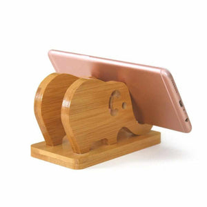 La Maison du Bambou Mobile Phone Bracket Base Tablet Cute Elephant Shape Cellphone Smartphone Holder for Bamboo Desktop Storage Rack Stand