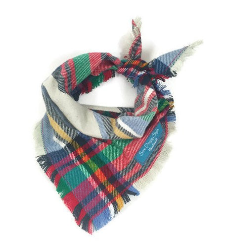 Tartan Plaid Flannel Fray Dog Bandana