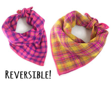 Load image into Gallery viewer, Pink and Yellow Reversible Plaid Dog Bandana