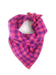 Pink and Yellow Reversible Plaid Dog Bandana
