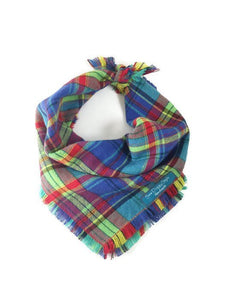 Multicolor Plaid Flannel Fray Dog Bandana