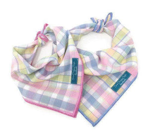 Pastel Plaid Dog Bandana - Choose your trim color!