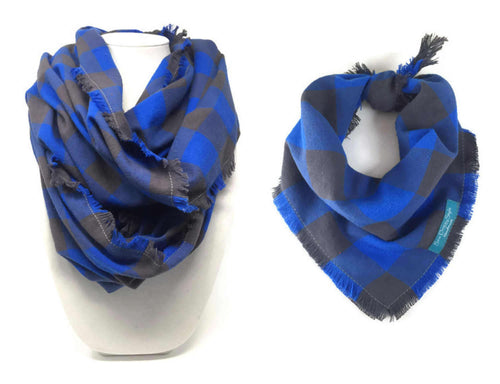 Infinity Scarf with Dog Bandana, Matching Pet and Owner Accessories, Neon Blue and Taupe Plaid, Checkered
