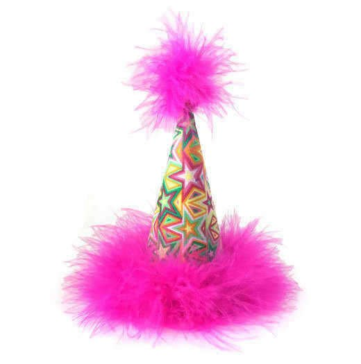 Superstar Hot Pink and Green Party Hat, Dog Birthday Hat, Star Birthday Hat