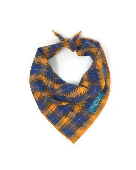 Orange and Blue Plaid Bandana, Dog Bandana, Summer Plaid