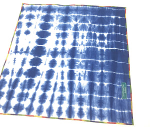 Indigo Shibori Bandana with Colorful Trim, Dog Bandana, blue and white, tie dye