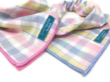 Load image into Gallery viewer, Pastel Plaid Dog Bandana - Choose your trim color!