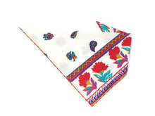 Load image into Gallery viewer, Floral Aztec Bandana, Red and White, Dog Bandana, Large flowers