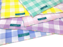 Load image into Gallery viewer, Blue Gingham Dog Bandana with Pastel Rainbow Trim, Gingham, Checked Plaid, Rainbow Bandana, Pastel Rainbow, Candy Necklace Edge