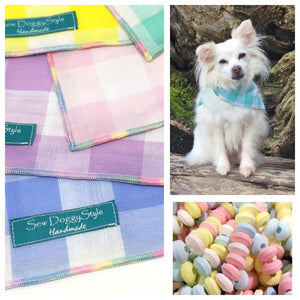 Blue Gingham Dog Bandana with Pastel Rainbow Trim