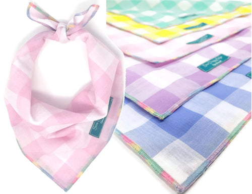 Pastel Gingham Dog Bandana with Multicolor Trim