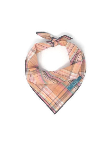 Juicy Bandana, Peach Plaid, Dog Bandana, Grey Accents, Unisex