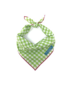 Lime Gingham Dog Bandana
