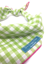 Load image into Gallery viewer, Gingham Bandana, Lime and White Checkers, Dog Bandana, Hot Pink, Watermelon Bandana, Dog Neck Accessories