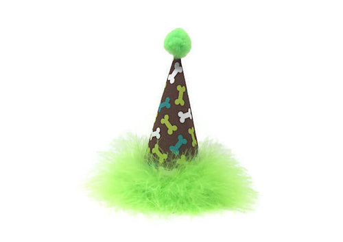 Dog Birthday Hat, Bone Theme Birthday Party, Green, Lime Green