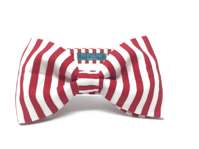 Red and White Stripe Bow Tie, Dog Bow Tie, Cat Bow Tie, Birthday Photo Props, Matching Accessories